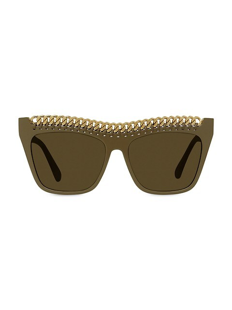 59MM Chain-Trimmed Square Sunglasses