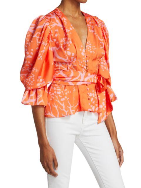 PatBO Coral Print Button-Front Blouse | SaksFifthAvenue