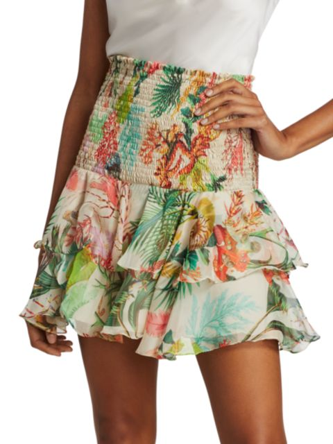 PatBO Oasis Shirred Ruffle Mini Skirt   SaksFifthAvenue