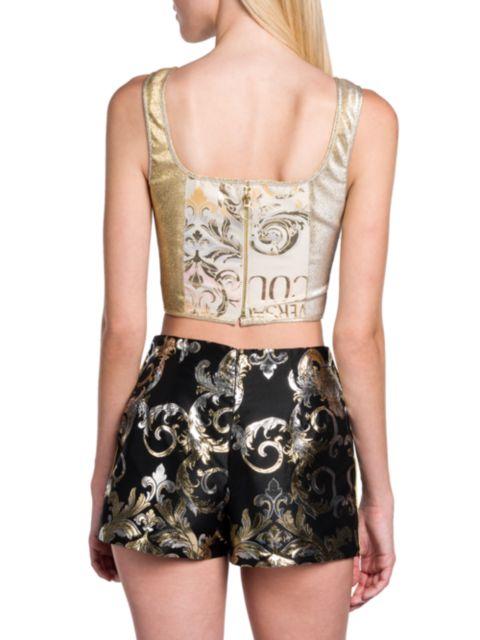 Versace Jeans Couture Metallic Bustier Top   SaksFifthAvenue