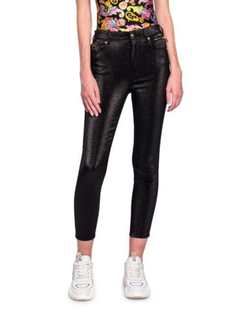Versace Jeans Couture Metallic Ankle Crop Jeans   SaksFifthAvenue