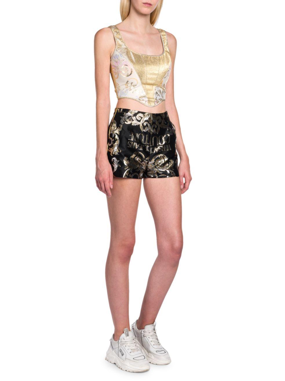 Versace Jeans Couture Metallic Logo Shorts   SaksFifthAvenue