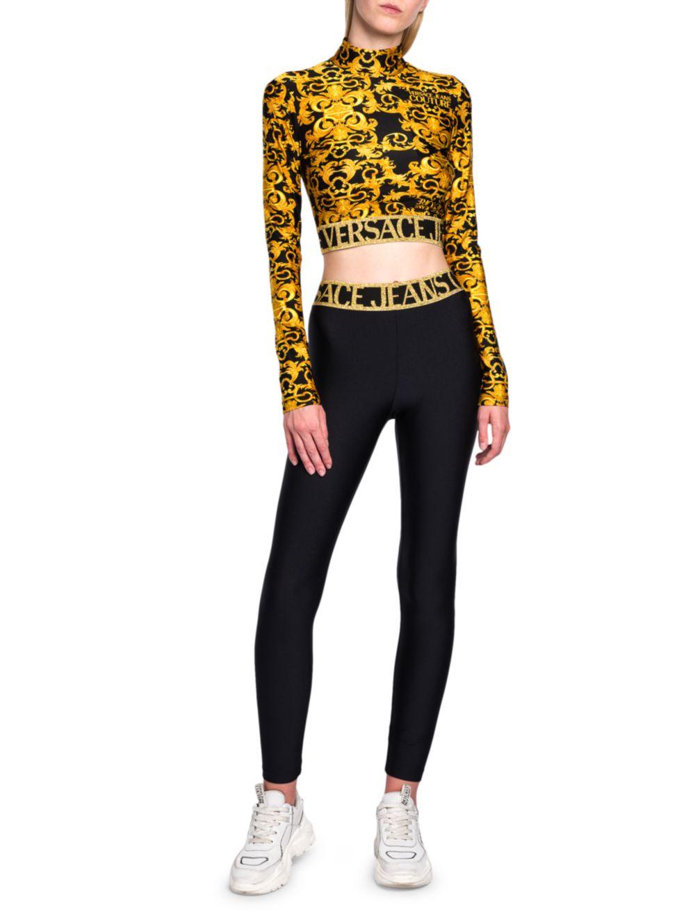 Versace Jeans Couture Logo Baroque Crop Top | SaksFifthAvenue