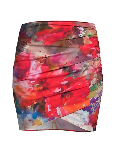 Ebby Ruched Printed Skirt