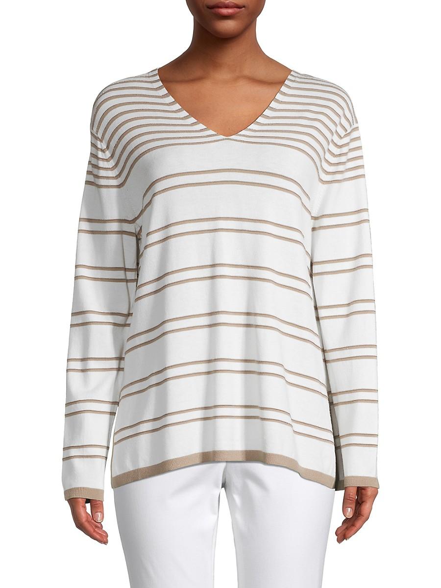 LAFAYETTE 148 Sweaters WOMEN'S STRIPED LUREX V-NECK SWEATER
