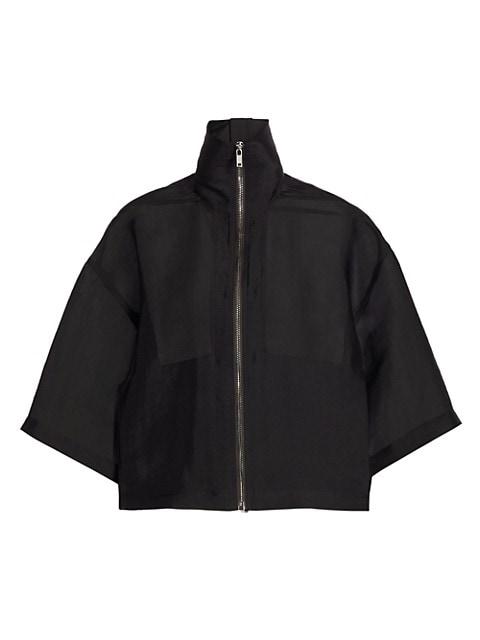 Silk Gazar Cropped Windbreaker Jacket