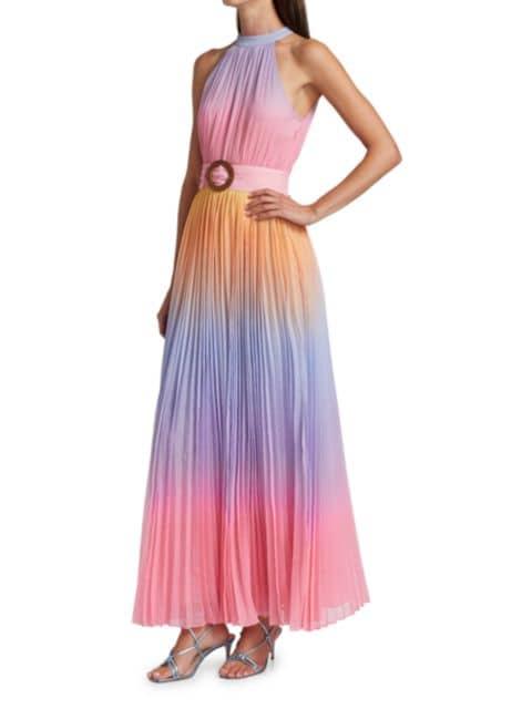 Rococo Sand Emi Ombre Pleated Halter Dress   SaksFifthAvenue