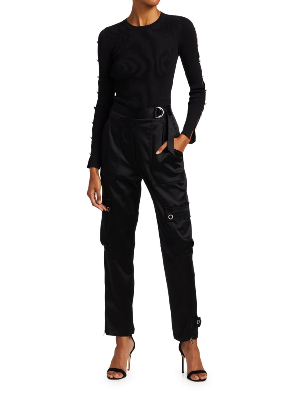 Jonathan Simkhai Giulianna Compact Rib Diamonte Cutout Sleeve Top   SaksFifthAvenue