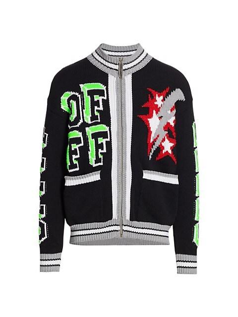 Wool-Blend Knit Bomber Jacket