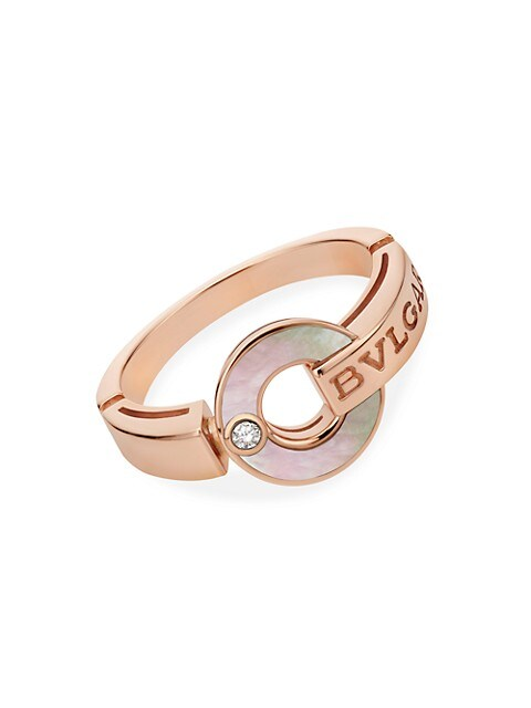 Essential 18K Rose Gold, Mother-of-Pearl & Diamond Ring