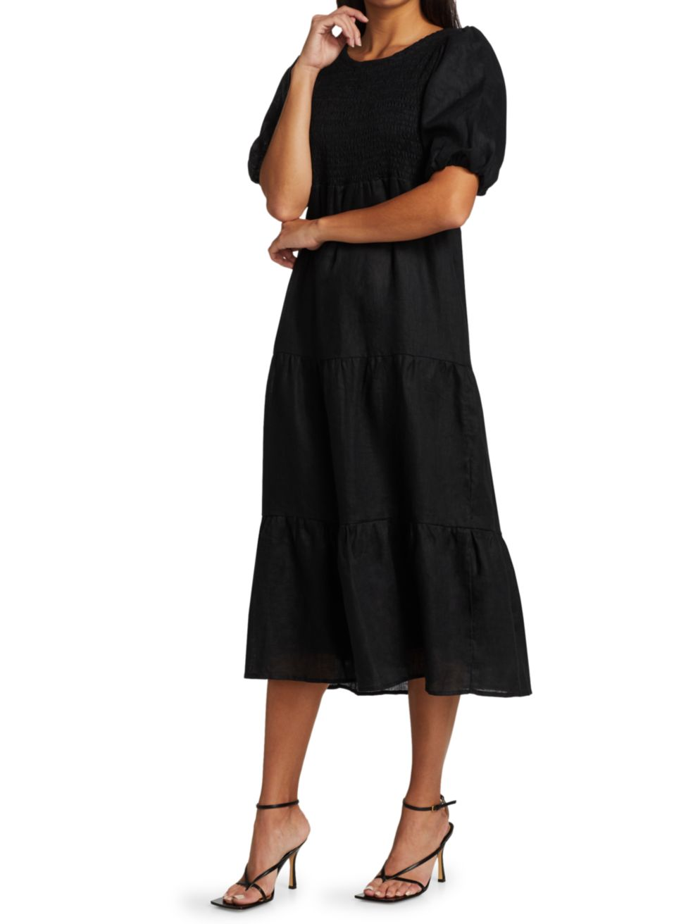 Faithfull the Brand Alberte Puff-Sleeve Midi Dress | SaksFifthAvenue