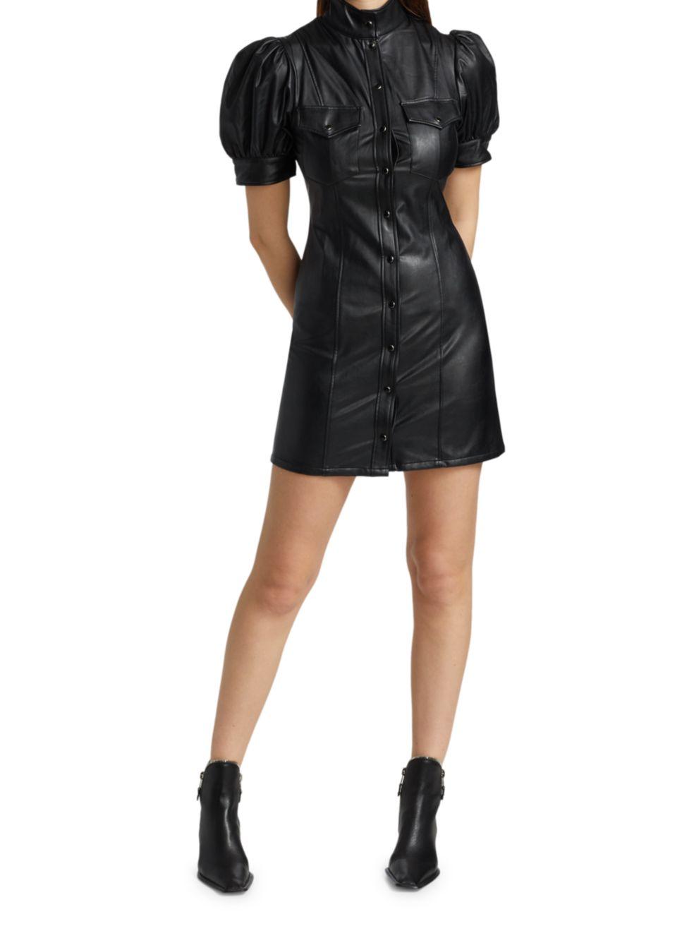 The Kooples Leatherette Puff-Sleeve Mini Dress | SaksFifthAvenue