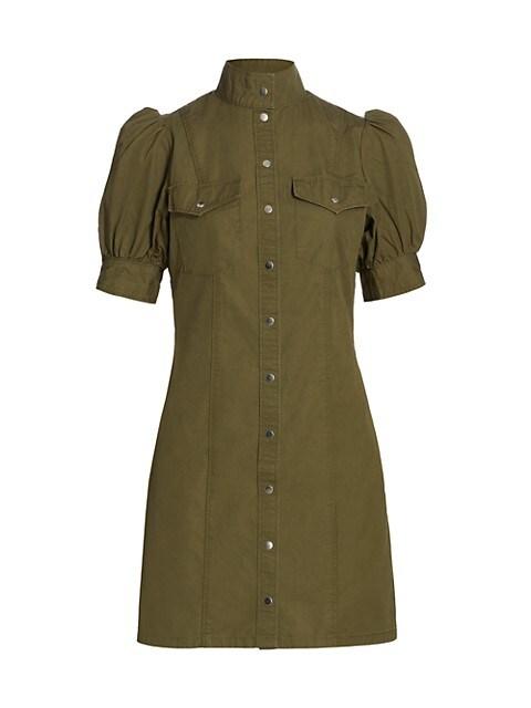 Army Puff-Sleeve Mini Dress