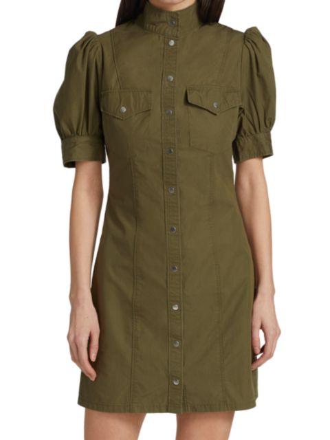 The Kooples Army Puff-Sleeve Mini Dress   SaksFifthAvenue