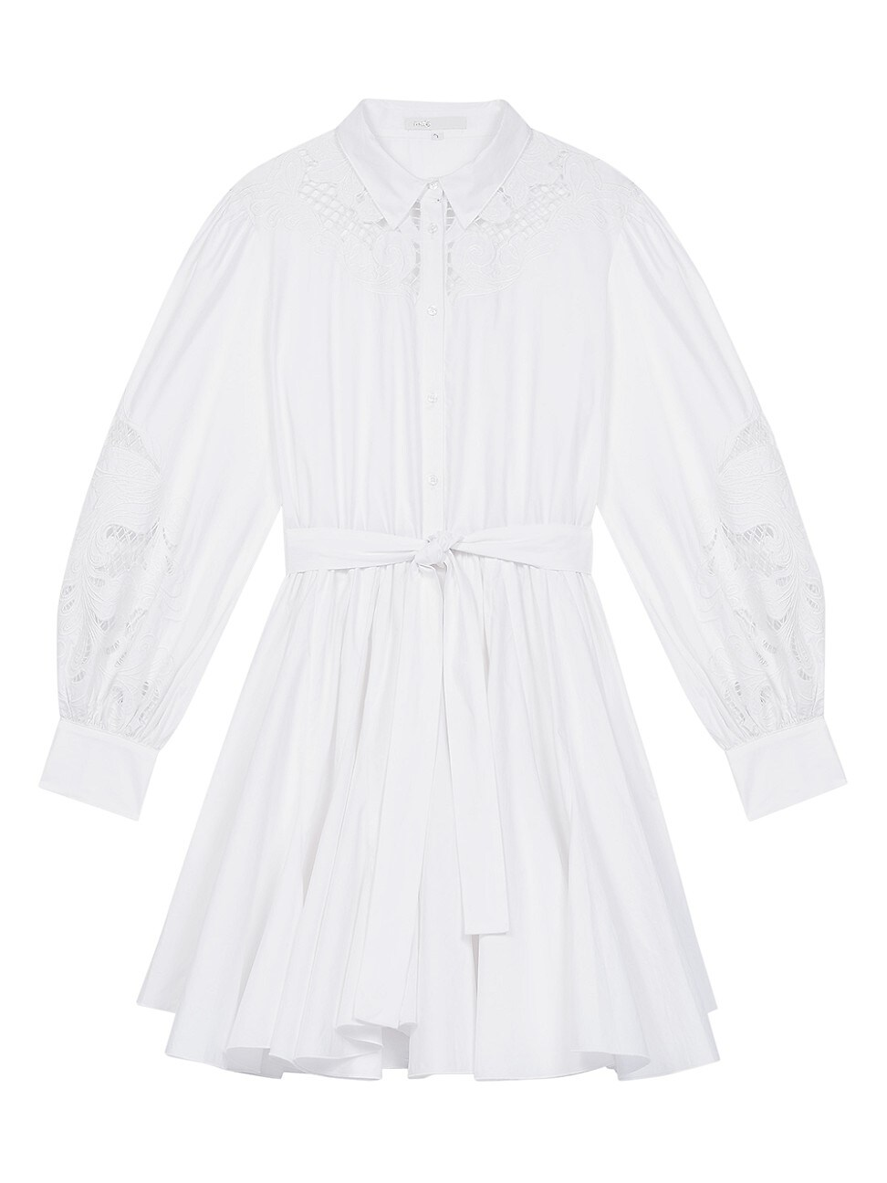 Maje WOMEN'S REBELLO LACE INSET COTTON SHIRT DRESS