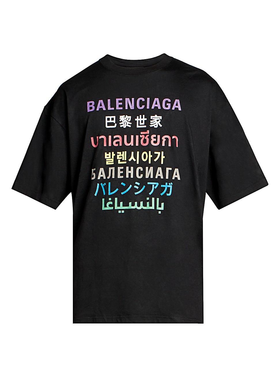 Balenciaga Cottons MEN'S MULTI-LANGUAGES LOGO T-SHIRT
