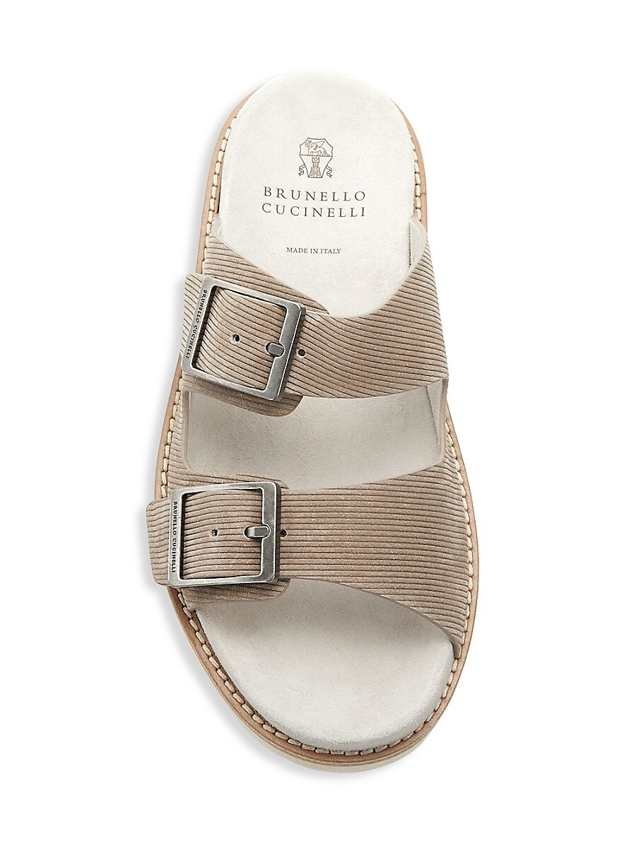 BRUNELLO CUCINELLI Suedes MEN'S SUEDE CORDUROY BUCKLE SANDALS