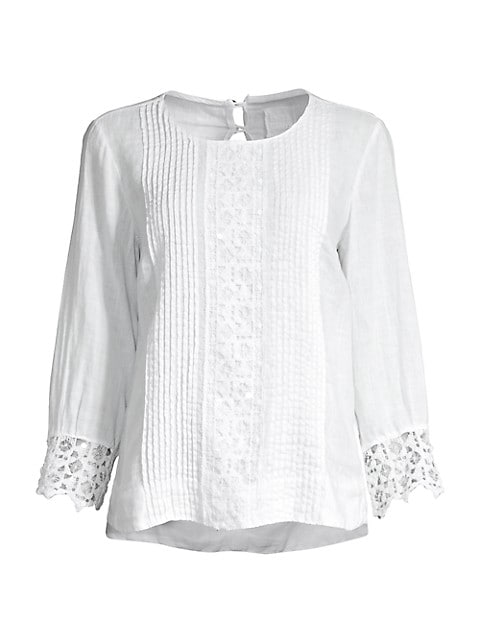 Embroidered Pintuck Lace Cuff Blouse