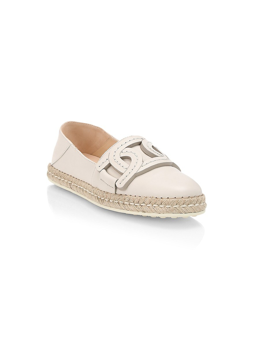 TOD'S Leathers WOMEN'S KATE LEATHER ESPADRILLES