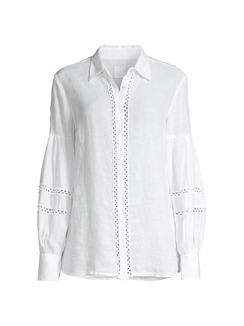 Embroidered Bishop-Sleeve Covered Placket Shirt