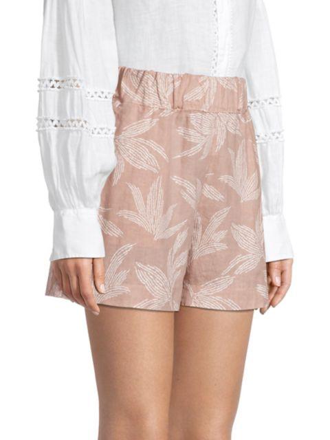 120% Lino Elastic Waist Embossed Floral Shorts | SaksFifthAvenue