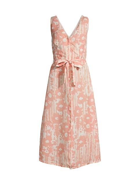 Desert Floral Print V Neck Button Front Dress