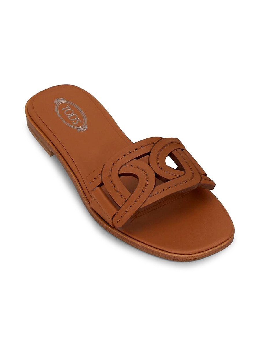 TOD'S Leathers WOMEN'S KATE LEATHER SLIDES
