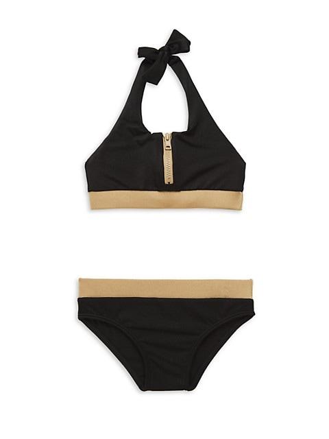 Girl's Multi Two-Piece Zipper Bikini Set