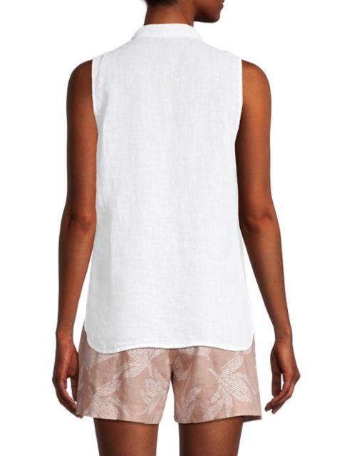 120% Lino Sleeveless Embroidered Picot Linen Shirt | SaksFifthAvenue