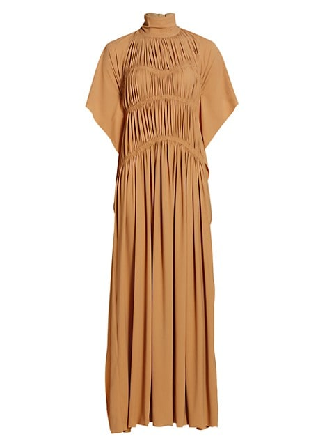 Smocked Highneck Maxi Dress