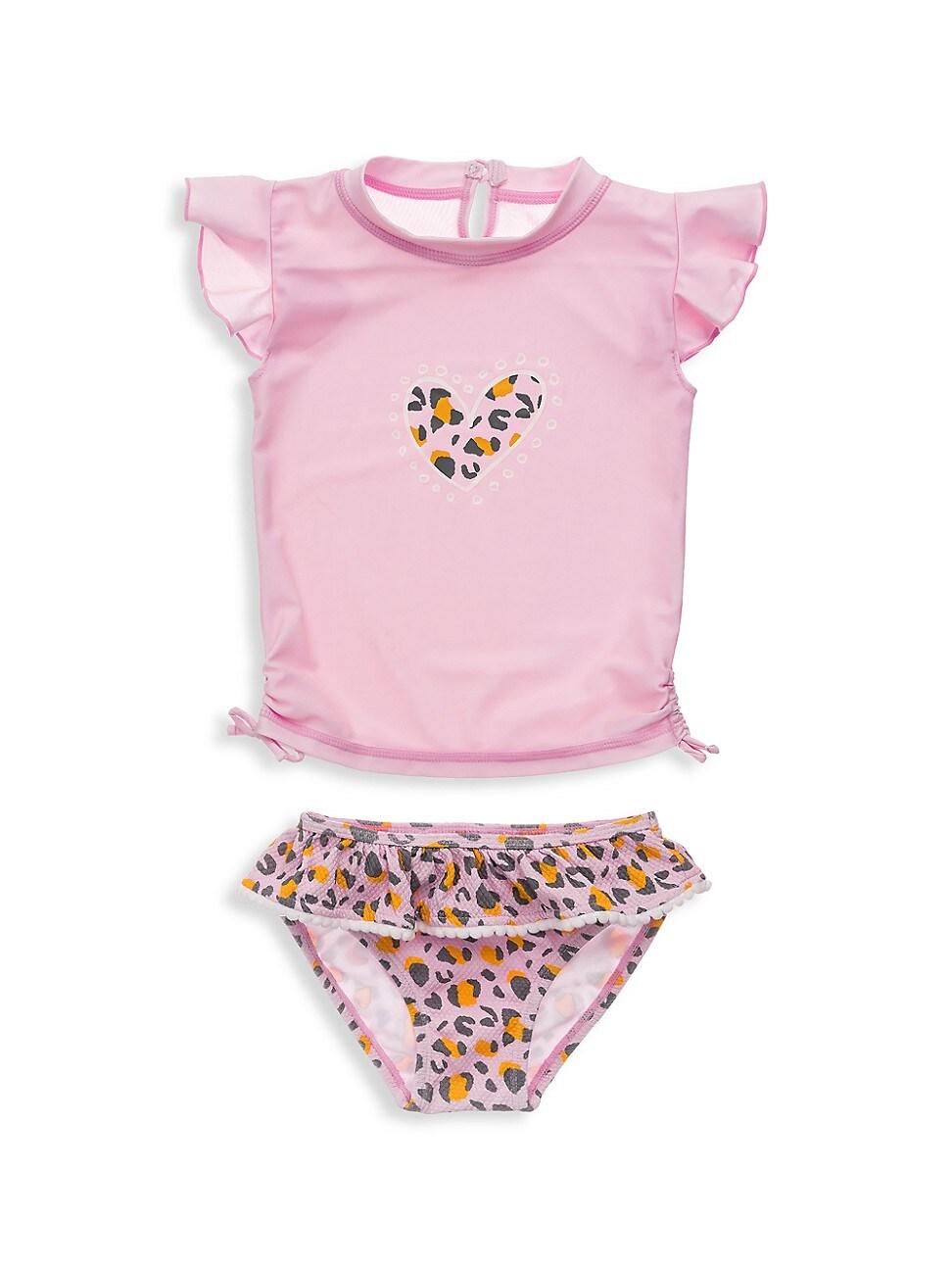 Snapper Rock Bikinis BABY GIRL'S LEOPARD LOVE TWO-PIECE TOP & RUFFLE BOTTOM SET
