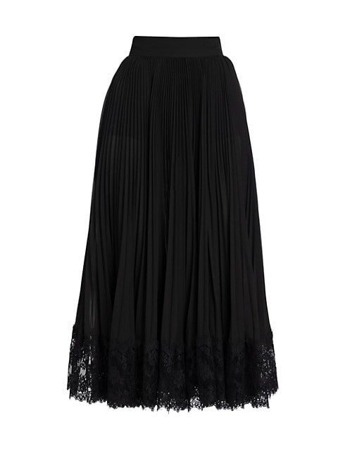 Lace Trim Plissé Pleated Midi Skirt