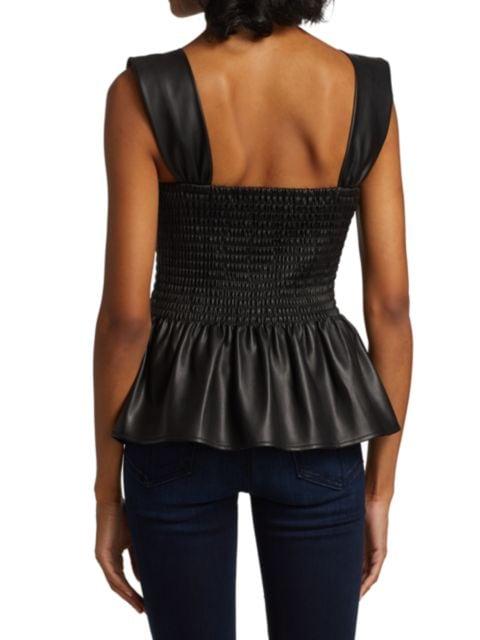 Staud Ida Smocked Faux Leather Top | SaksFifthAvenue
