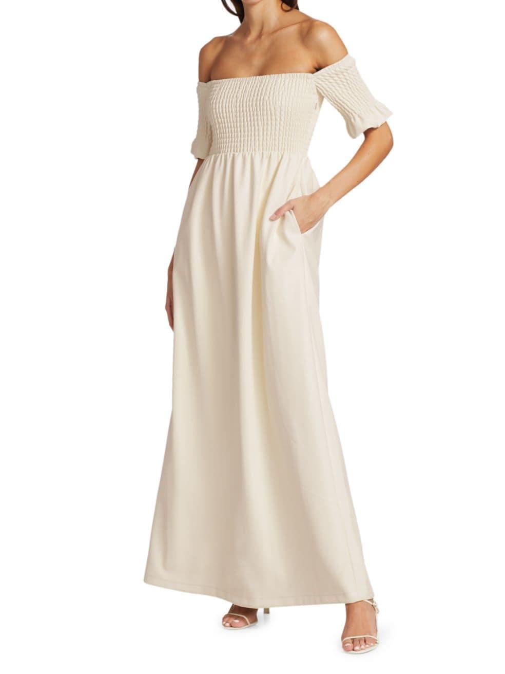Staud Mae Smocked Off-The-Shoulder Vegan Leather Maxi Dress   SaksFifthAvenue