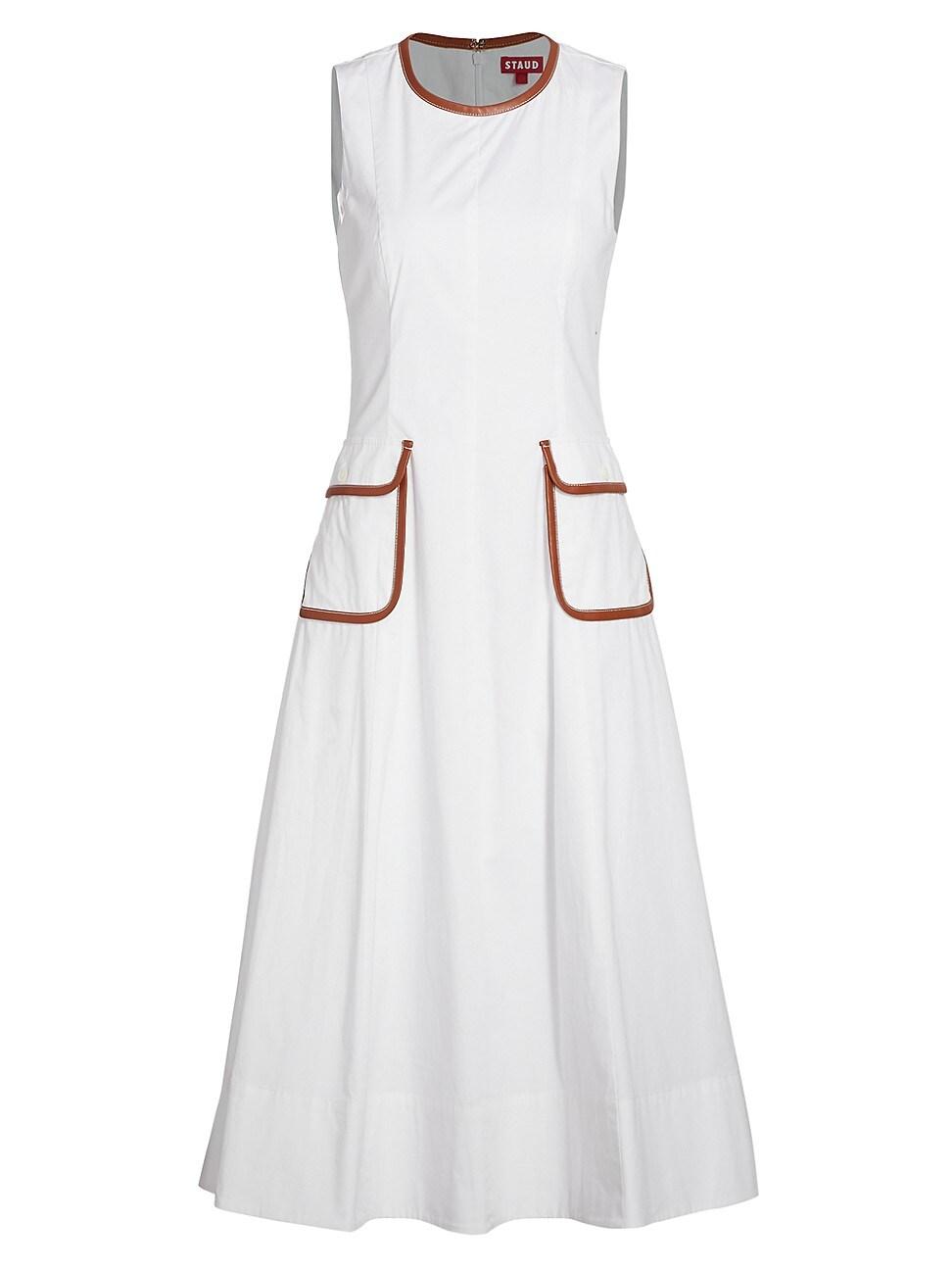 Staud WOMEN'S BAIT FAUX LEATHER-TRIM POCKET DRESS