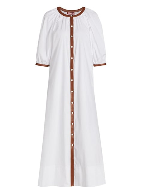 Vincent Faux Leather-Trim Midi Dress