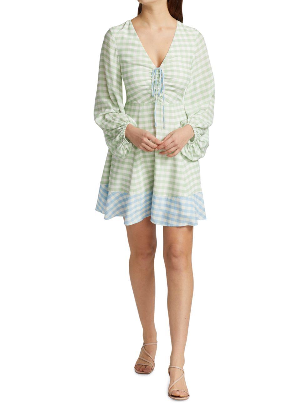 Staud Olivier Gingham Mini Dress | SaksFifthAvenue