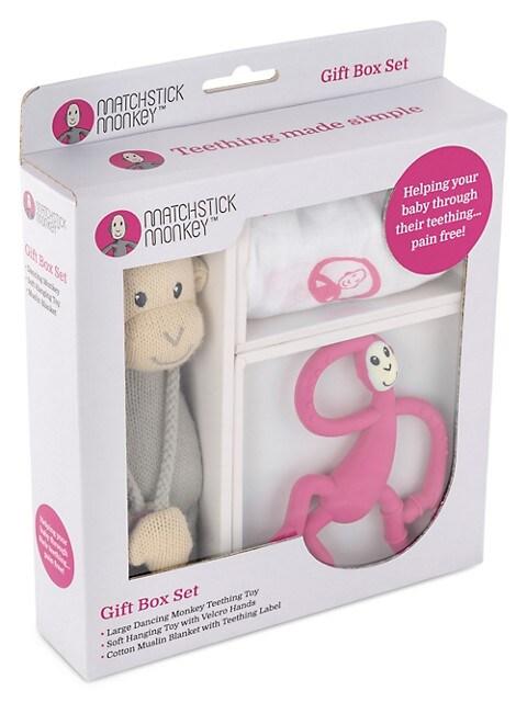 Matchstick Monkey 3 Piece Unisex Teething Gift Set Saksfifthavenue