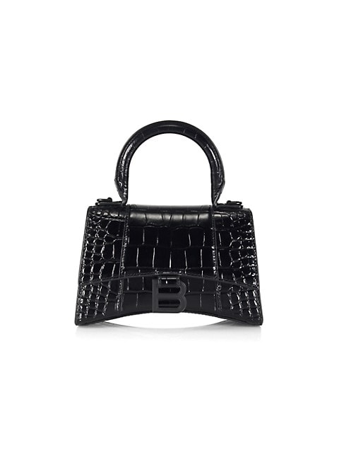 XS Hourglass Croc-Embossed Leather Top Handle Bag