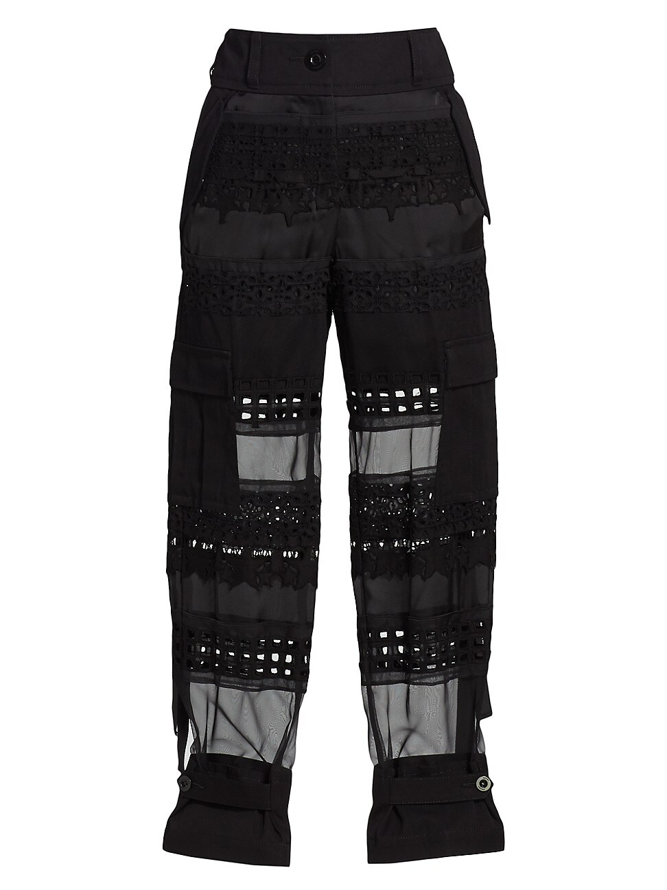 Sacai WOMEN'S EMBROIDERED LACE PANTS