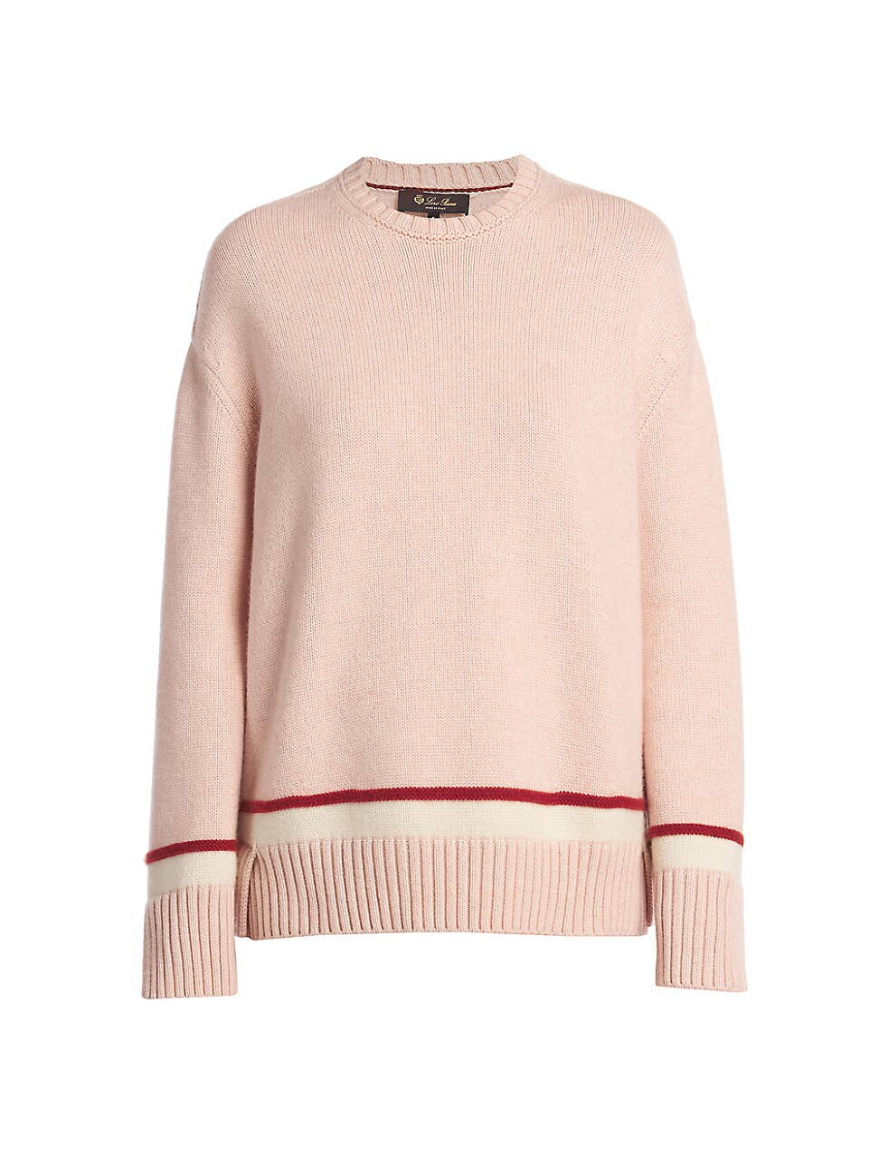 Loro Piana WOMEN'S CASHMERE CONTRAST-TRIM PULLOVER KNIT SWEATER