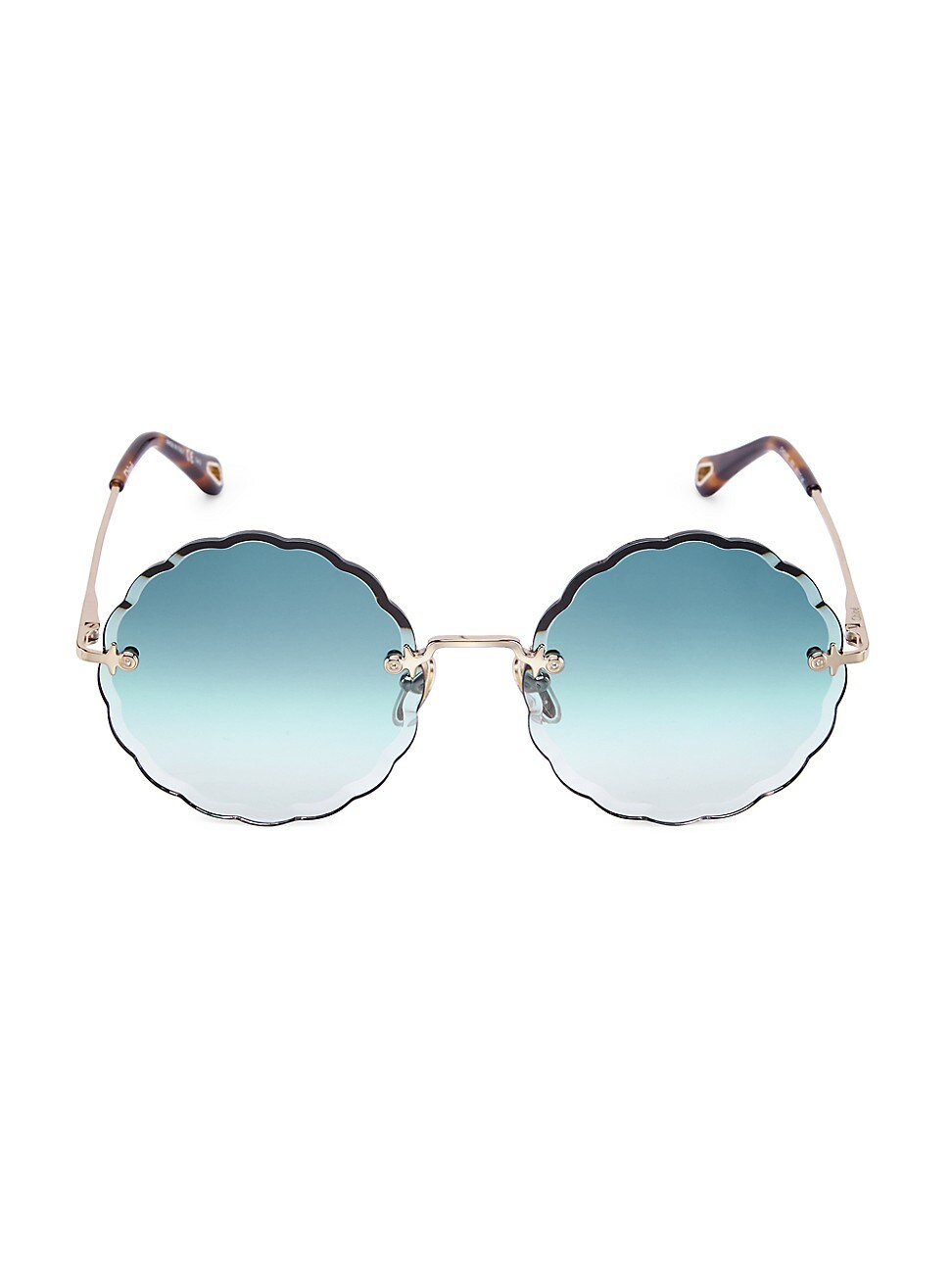 Chloé WOMEN'S 60MM ROUND SCALLOPED SUNGLASSES
