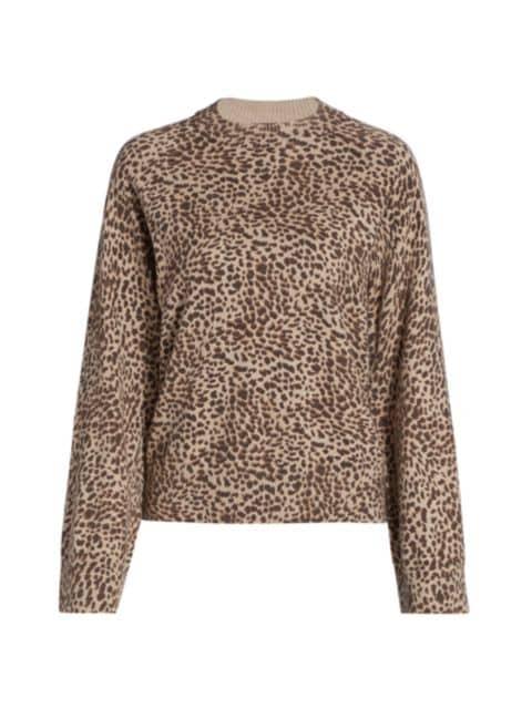 Monrow Mini Leopard Mockneck Sweatshirt   SaksFifthAvenue