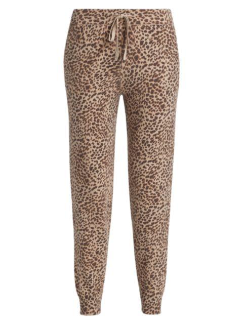 Monrow Mini Leopard Cashmere-Cotton Sweatpants | SaksFifthAvenue