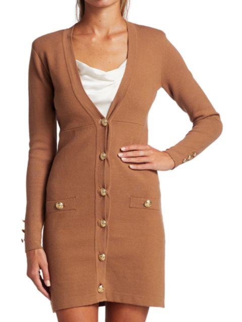 L'Agence Breanna V-Neck Button Mini Dress   SaksFifthAvenue