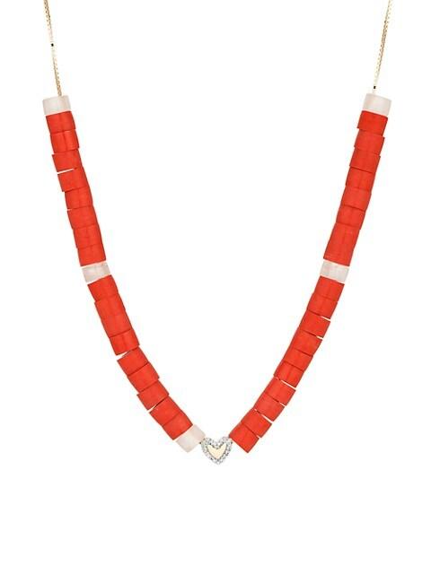 Design Kits 14K Yellow Gold, Diamond, Red Jasper & Rose Quartz Necklace