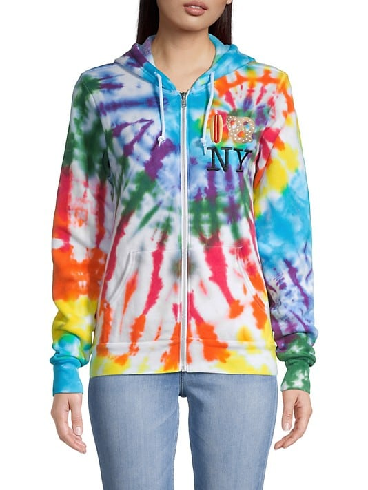 PiccoliNY Rainbow Tie-Dye Hot Dog Pretzel Zip-Up Hoodie