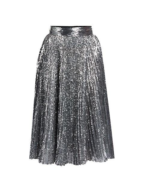 Pleated Sequin Midi Skirt