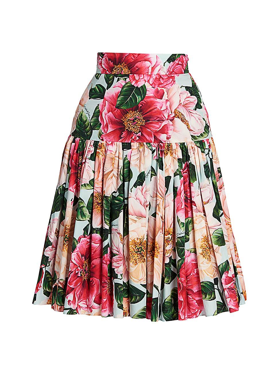 Dolce & Gabbana WOMEN'S FLORAL POPLIN PLEATED SKIRT