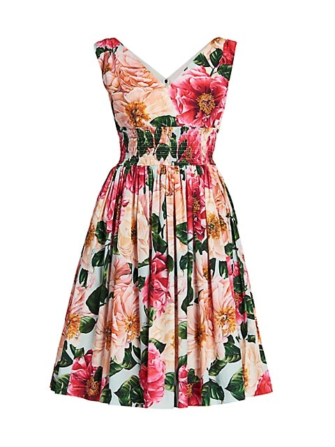 Floral Poplin Sleeveless Fit-&-Flare Dress
